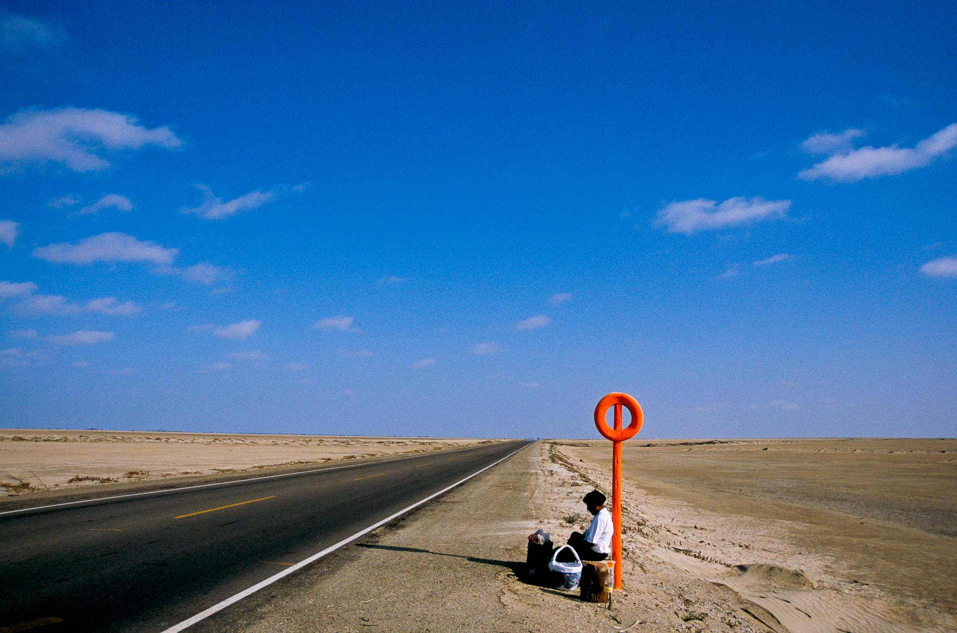 Bus stop in the desert, Peru, 2000